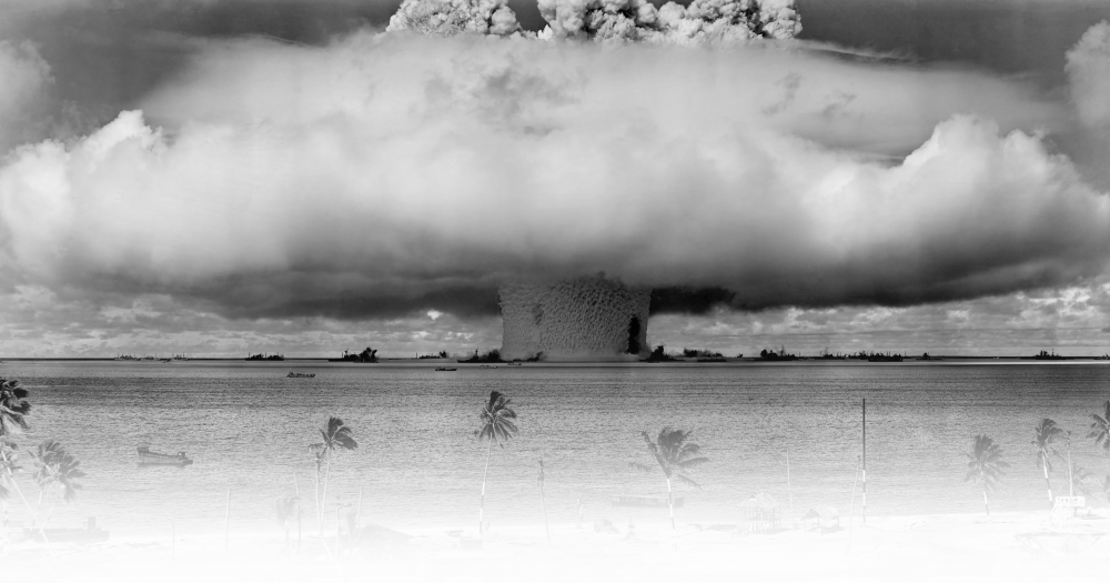 Nuclear bomb testing in tropical location