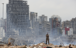 A soldier stands at the devastated site of the explosion in the port of Beirut, Lebanon,
