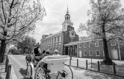 Independence Hall in black & white